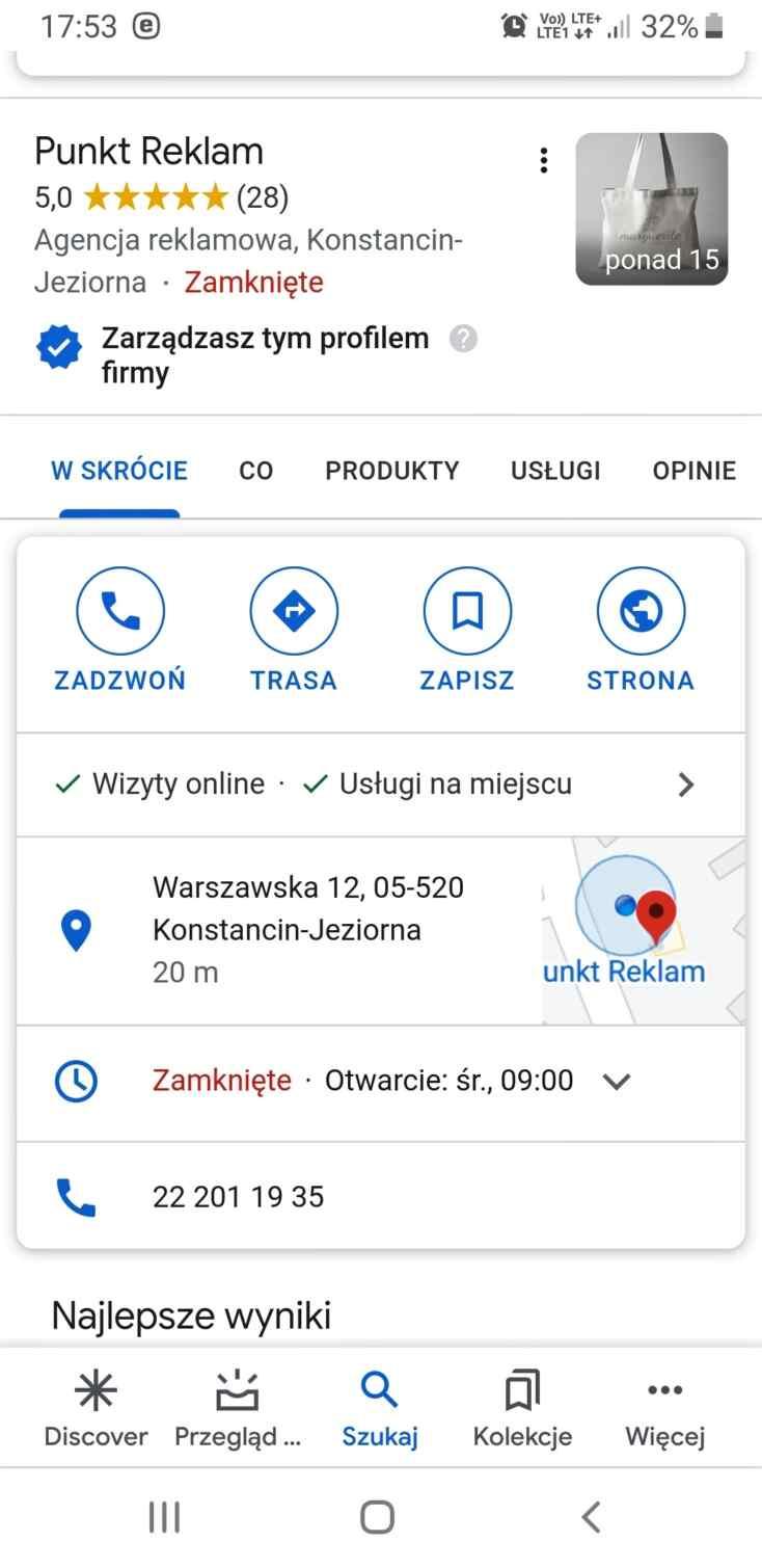 google wizytówka firma konstancin jeziorna